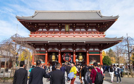 shinto: December 5, 2016 - Tokyo, Japan: Inside of Asakusa Temple or Senso-ji, the famous temple with giant red lantern, crowded with tourists around the world to spend their free time here. Editorial