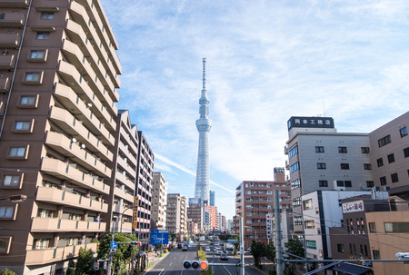 Dec 5, 2016 - Tokyo, Japan: Tokyo Skytree from the view in downtown. The Tower becomes blue when shot with blue sky background. 新闻类图片