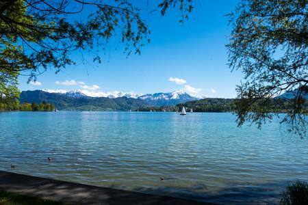 Landscape of Geneva lake and alps nearby Luzern park.
