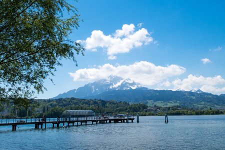 Ferry port at Lucern park which there is mountain as background.