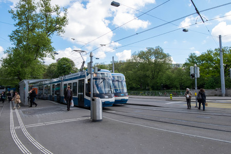 May 5, 2017 - Zurich, Switzerland: Tram number 13 stops and waits for passengers at Silhquai station.