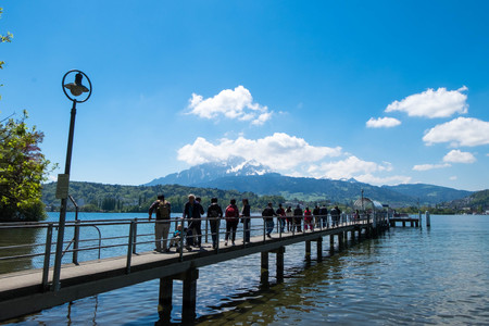 May 5, 2017 - Lucern, Switzerland: Ferry port at Lucern park which there is mountain as background.