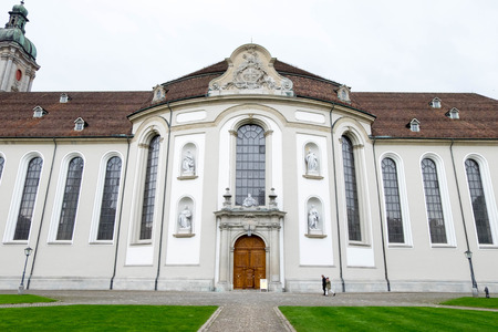 May 6, 2017 - Saint Gallen, Switzerland: Side of Abbey of Saint Gall where is a Roman Catholic religious church in town.
