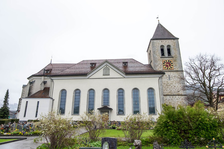 May 7, 2017 - Appenzell, Switzerland: Cemetery beside St. Mauritius Church at downtown of Appenzell town.