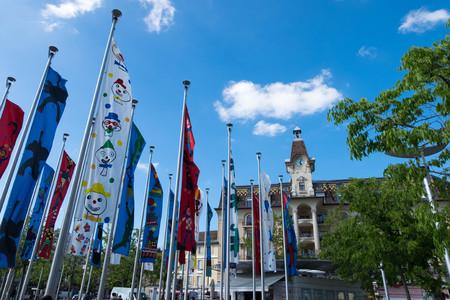 May 9, 2017 - Lausanne, Switzerland: Flags painted by kids at Geneva lake in Promenade near kids zone.