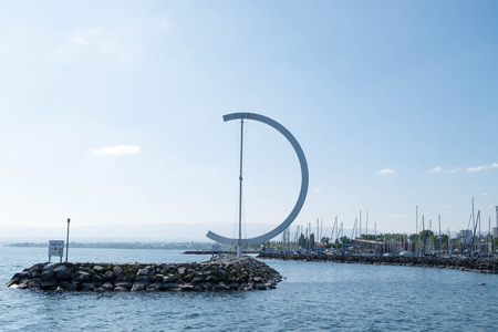 May 9, 2017 - Lausanne, Switzerland: EOLE Sculpture of Clelia Bettua, located in Lake Geneva Promenade in Lausanne.