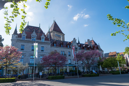 May 9, 2017 - Lausanne, Switzerland: Chateau dOuchy, luxurious and Neo-Gothic hotel in chateau from 12th century by lake Geneva.