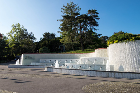 May 9, 2017 - Lausanne, Switzerland: Fountain of Le Musee Olympique or Olympic museum on Quai dOuchy, displays modern olympic movement.
