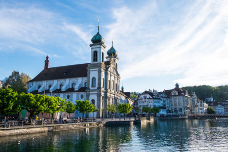 May 6, 2017 - Lucerne, Switzerland: Jesuitenkirche or Jesuit Church, the first large Baroque Catholic church in Switzerland north of the alps. It locates near Reuss river and Kapellbrucke.