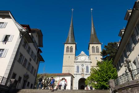 May 5, 2017 - Luzern, Switzerland: Church of St. Leodeger or Hofkirche, Roman catholic church built in 17th-century.