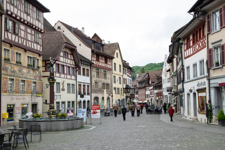 May 7, 2017 - Schaffhausen, Switzerland: Stein am Rhein, small town with half-timbered medieval houses with painted facades. They are all well preserved and welcomed travelers to visit. Editorial