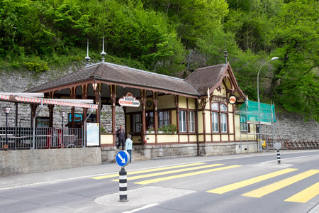May 11, 2017 - Brienz, Switzerland: Brienz Rothornbahn or tourism train station closed during off-season make tourists disappointed and go home empty handed. Editorial