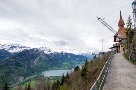 May 11, 2017 - Interlaken, Switzerland: View from aside of Harder Kulm and scenic point for travelers to visit. Editorial