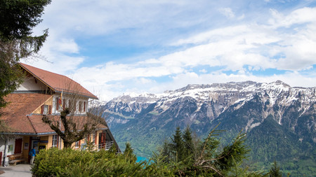 May 11, 2017 - Interlaken, Switzerland: View from aside of Harder Kulm funicular station. Brienz lake can be seen from this point with mountain range as background.