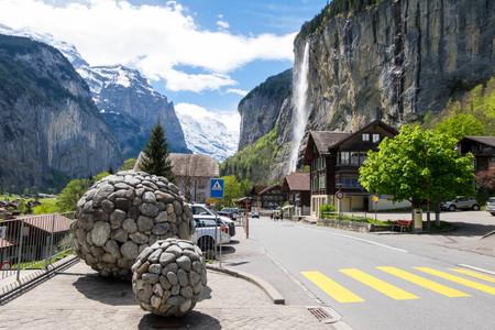May 12, 2017 - Lauterbrunnen, Switzerland: View of Staubbach waterfall in Lauterbrunnen, one of 72 waterfalls in valley and the third highest falls in Switzerland.
