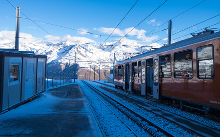 May 13, 2017 - Zermatt, Switzerland: Rotenboden, station before last stop at Gornergrat. Tourists will leave the train to go to Riffelsee during summer or skiing on winter.