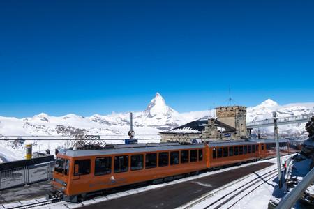 May 13, 2017 - Zermatt, Switzerland: Gornergrat bahn, the only train where services travelers on Matterhorn railway. The final destination is Gornergrat station which can see mountains in high view point, including Matterhorn.