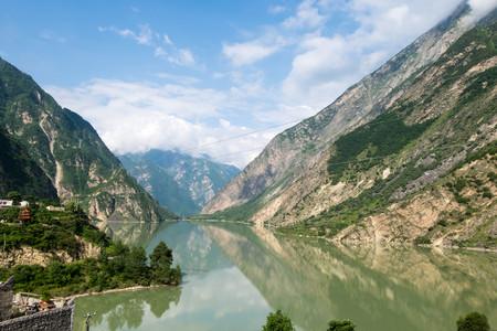 Jul 16, 2017 - Sichuan, China: Dezihai or Dezi lake running through Sichuan. Editorial