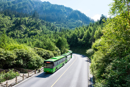 Jul 17, 2017 - Sichuan, China: Sightseeing buses in Jiuzhaigou national park, the only vehicle that can transfer travelers to each scenic point in the park. Editorial