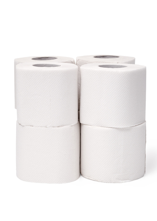 Clean white tissue paper rolls on white background. Toilet paper roll with white isolated background.