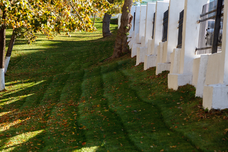 Autumn Background. Autumn garden with fallen leaves on the green grass, and a white fence on a Sunny day.