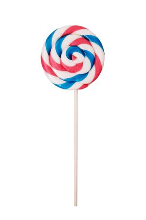 Spiral lollipop on white background. Close up of colorful, handmade swirl lollipop isolated on white background. Studio shot