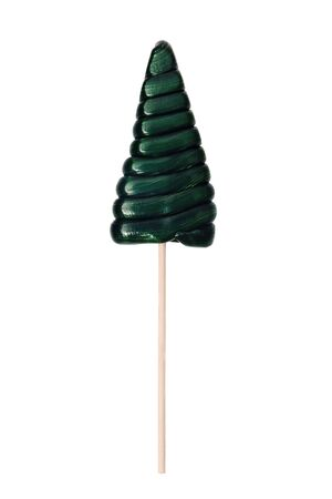 Candy in the shape of a Christmas tree on a white background. Green Lollipop isolated on white background. Christmas sweets harvesting