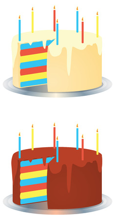 A vector illustrations of a white cream rainbow party cake and a dark chocolate rainbow birthday party cake with lit candles on a silver plate Illustration