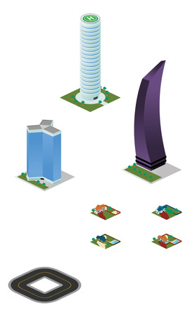 A vector illustrations pack of isometric tall city miscellaneous buildings and houses which are compatible with each other in grid perspective and size