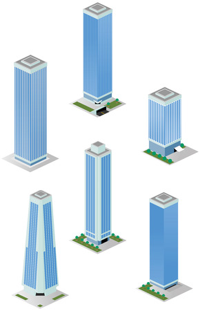 A vector illustrations pack of isometric tall city office buildings which are compatible with each other in grid perspective and size Stock Vector - 24752222