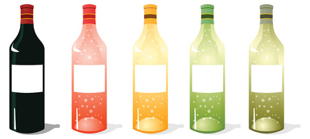 A vector illustrations pack of multi color wine bottles with blank labels