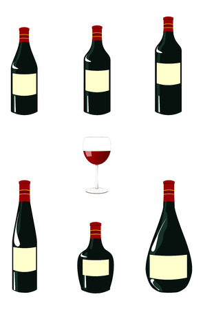 A vector illustrations pack of red wine bottles with blank labels and a red wine glass in the center