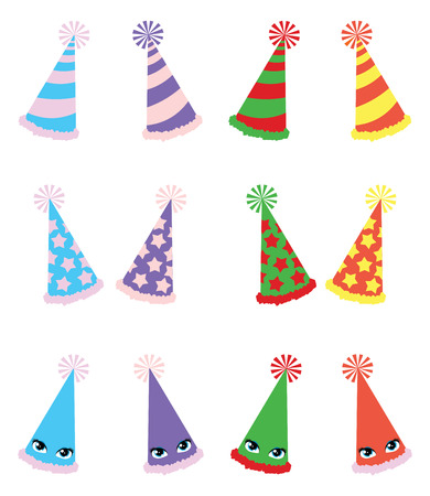 A vector illustrations pack of various party hats with three different textures and four different color variations