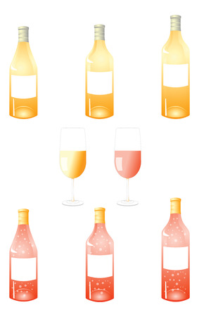 A vector illustrations pack of white and reddish wine bottles with blank labels and two coloured wine glasses in the center