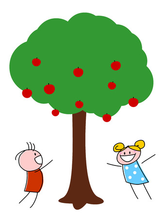 A vector illustrations of children dancing and playing under an apple tree