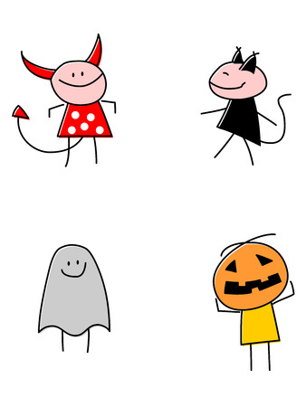 A vector illustrations of children wearing various costumes