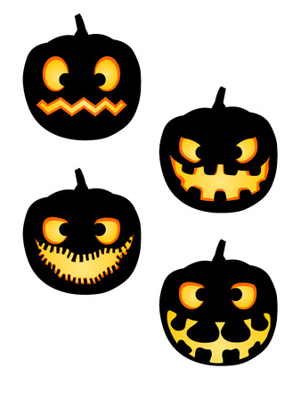 A pack vector illustrations pumpkin silhouettes with various faces