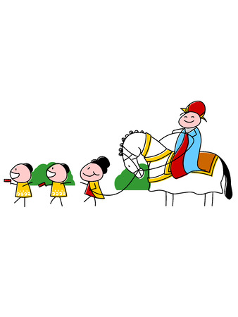 A vector illustrations a Purim Mordecai march with costumed children