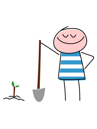 A vector illustrations a smiling child with blue and white striped shirt holding a shovel after using it to plant a new tree in the ground