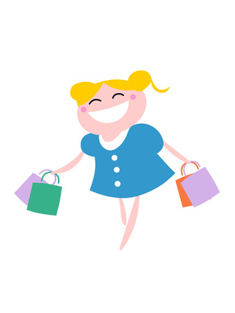 A vector illustration of a blond girl running with shopping bags