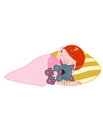 A vector illustration of a girl sleeping in bed with while hugging her cat