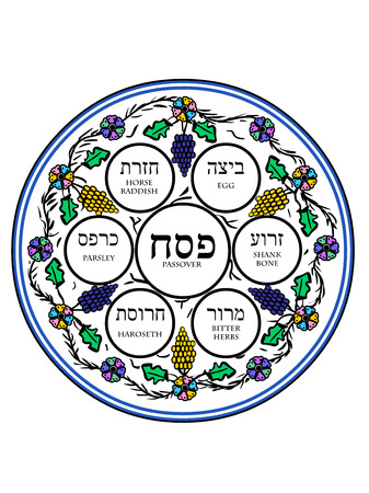 A vector illustration of a decorated passover plate with flowers and grapes Illustration
