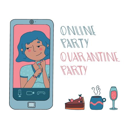 Online party or video conference with smiling girl drinking alcohol during coronavirus outbreak. Vector illustration with pets, pie, tea and sparkling wine. Illustration