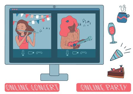 Online concert with girls playing musical instruments. Ukulele and flute. Live stream from people sit at home during covid-19 quarantine. Flat vector.