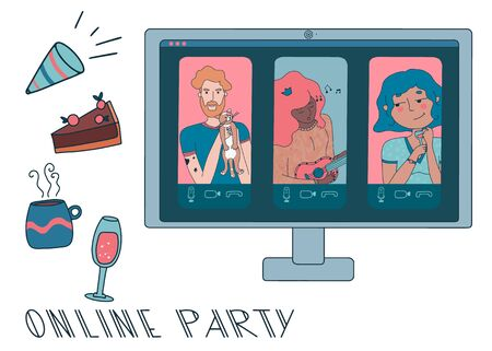 Online party or video conference with people working from home during coronavirus outbreak. Online call on the computer. Vector illustration with pets, pie, tea, wine and girl playing ukulele. Illustration