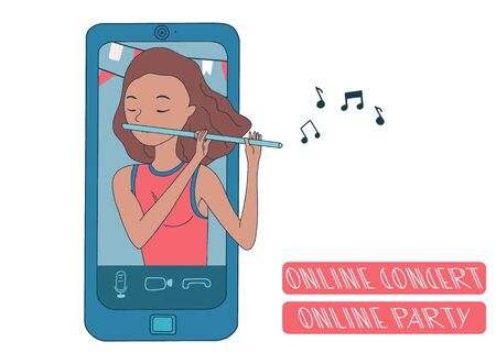 Online concert during covid-19 quarantine. Online party on the phone with girl playing flute. Flat vector.