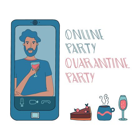 Virtual hangout with friends. Online party or video conference with smiling man drinking wine during coronavirus outbreak. Vector illustration. Hand drawn. Illustration