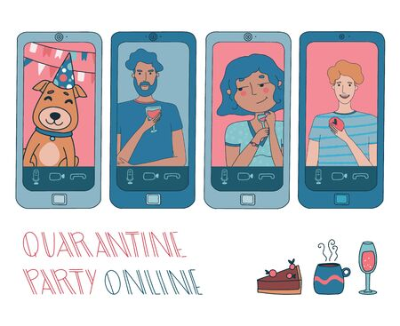 Virtual hangout with friends. Online party or video conference with people working from home during coronavirus outbreak. Vector illustration with pets, pie, tea, and wine. Hand drawn characters set.