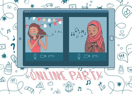 Online party with kid playing flute and girl in hijab singing a song. Live stream from people sit at home during covid-19 quarantine. Doodle background. Vector. Hand drawn 向量圖像