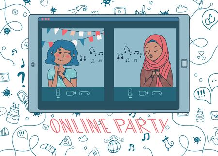 Online party with girl in hijab singing a song and the birthday girl listening to it. Live stream from people sit at home during covid-19 quarantine. Doodle background. Vector. Hand drawn